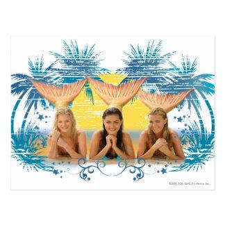 Group Blue Palm Tree Graphic Postcard