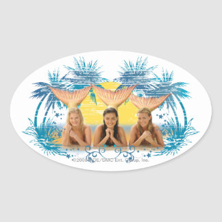 Group Blue Palm Tree Graphic Oval Sticker