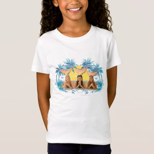 Group Blue Palm Tree Graphic T_Shirt