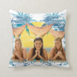 Group Blue Palm Tree Graphic Throw Pillows