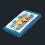 """Group Blue Palm Tree Graphic Trifold Wallet<br><div class=""""desc"""">Check out these official H2O designs! Personalize your own H2O merchandise on Zazzle.com! Click the Customize button to insert your own name or text to make a unique product. Try adding text using various fonts &amp; view a preview of your design!</div>"""