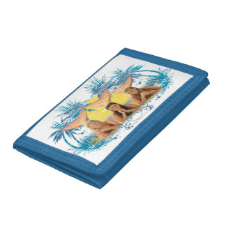 Group Blue Palm Tree Graphic Trifold Wallet
