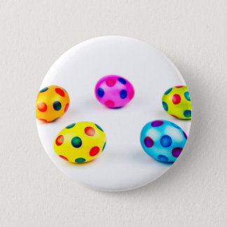 Group colorful painted chicken easter eggs pinback button