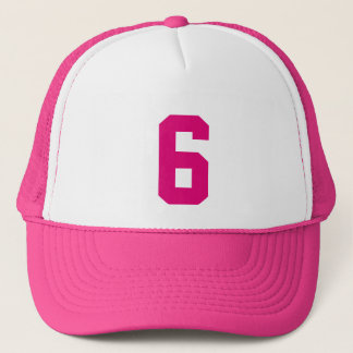 Group custom number eight 6 pink color trucker hat