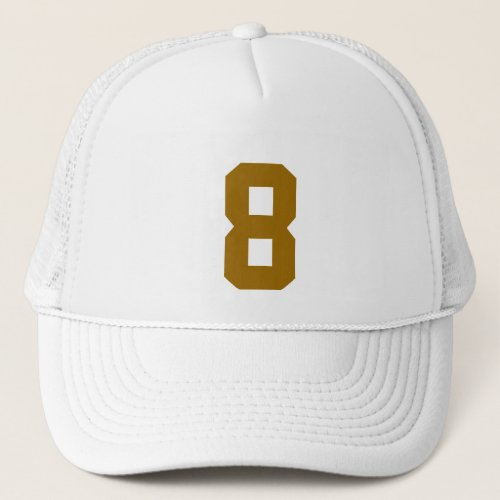 Group custom number eight 8 color gold trucker hat