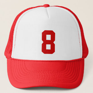 Group custom number eight 8 red color trucker hat