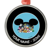 Group in Mickey Ears | Add Your Name Metal Ornament