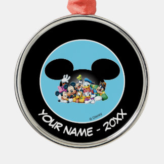 Group in Mickey Ears   Add Your Name Metal Ornament