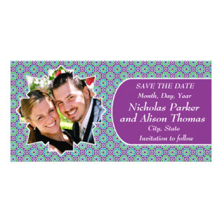 Group KNOWS THE DATES mosaics with arabesque Personalized Photo Card