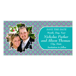 Group KNOWS THE DATES mosaics with arabesque Photo Card Template