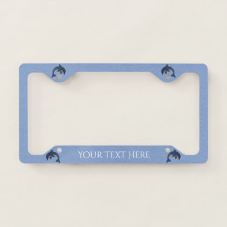 Group of Blue White Jumping Dolphins on Light Blue License Plate Frame