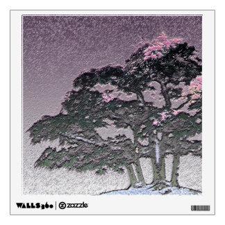 Group of Bonsai Trees in Metallic Purple Wall Decal