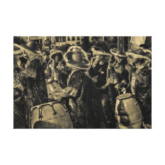 Group of Candombe Drummers at Carnival Parade Canvas Print