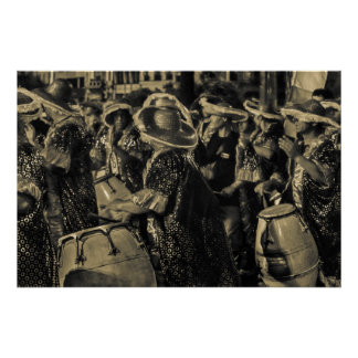 Group of Candombe Drummers at Carnival Parade Poster