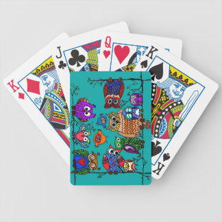 Group of Cartoon Owls Bicycle Playing Cards