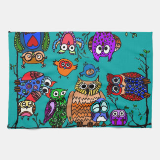 Group of Cartoon Owls Hand Towel