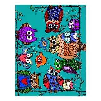 Group of Cartoon Owls Letterhead