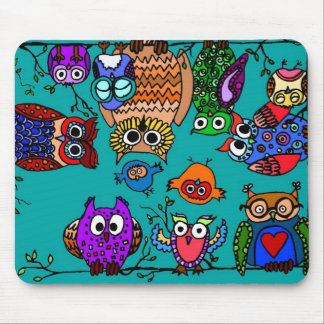 Group of Cartoon Owls Mouse Pad