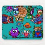 Group of Cartoon Owls Mousepad