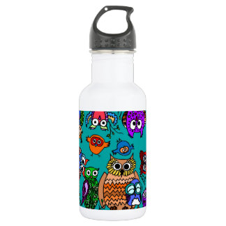 Group of Cartoon Owls Stainless Steel Water Bottle