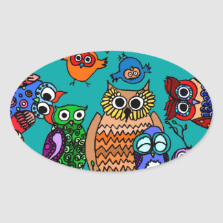 Group of Cartoon Owls Stickers