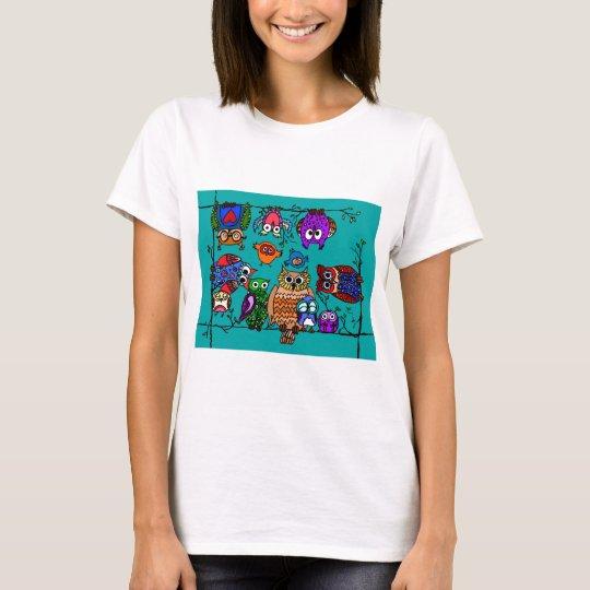 Group of Cartoon Owls T-Shirt