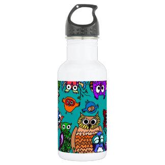 Group of Cartoon Owls Water Bottle