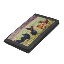 Group Of Chickens In Grass Trifold Wallet