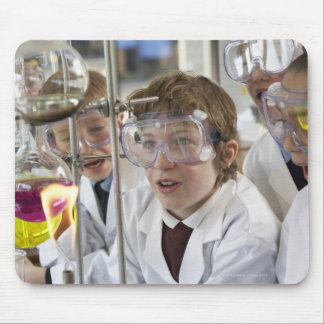 Group of children (9-12) watching experiment in mouse pad