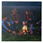 Group of cowboys around campfire large square tile