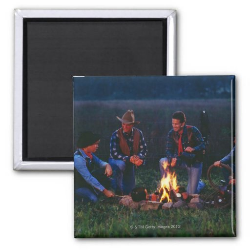 Group of cowboys around campfire 2 inch square magnet