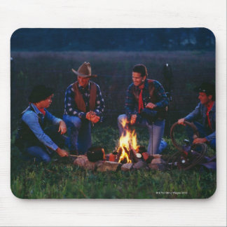Group of cowboys around campfire mousepad