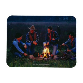 Group of cowboys around campfire flexible magnets