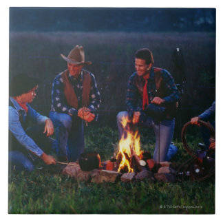 Group of cowboys around campfire tile