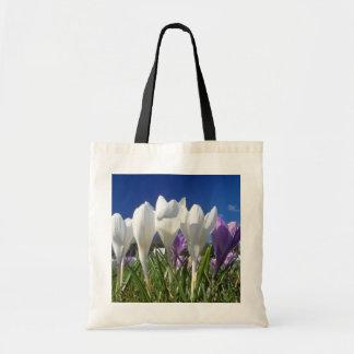 Group of crocuses flowers budget tote bag