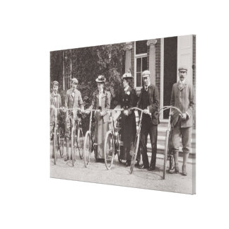Group of Edwardian bicyclists, early 1900s (b/w ph Canvas Print