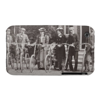 Group of Edwardian bicyclists, early 1900s (b/w ph iPhone 3 Case