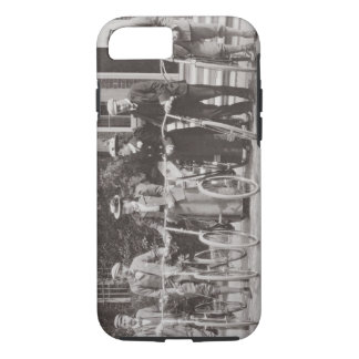 Group of Edwardian bicyclists, early 1900s (b/w ph iPhone 8/7 Case
