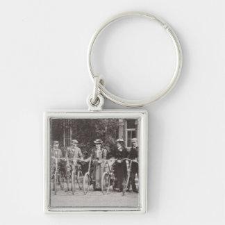 Group of Edwardian bicyclists, early 1900s (b/w ph Keychains