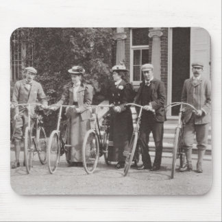 Group of Edwardian bicyclists, early 1900s (b/w ph Mouse Pad