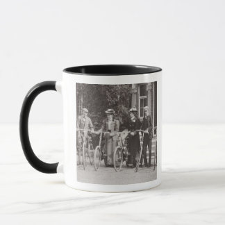 Group of Edwardian bicyclists, early 1900s (b/w ph Mug
