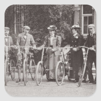 Group of Edwardian bicyclists, early 1900s (b/w ph Square Sticker
