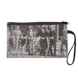 Group of Edwardian bicyclists, early 1900s (b/w ph Wristlet