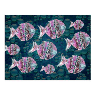Group of fishes Illustration Postcard