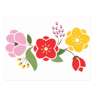 Group of Flowers in Red Pink and Gold Postcard