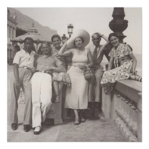 Group of friends in Cannes, 1930s Posters