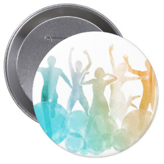 Group of Friends Jumping for Joy in Watercolor Button