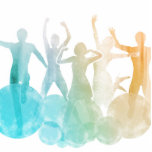 Group of Friends Jumping for Joy in Watercolor Cutout