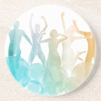 Group of Friends Jumping for Joy in Watercolor Drink Coaster