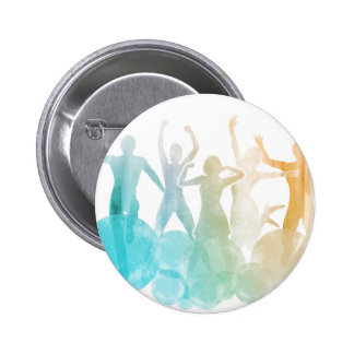 Group of Friends Jumping for Joy in Watercolor Pinback Button